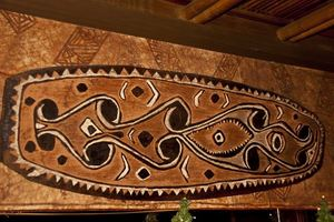 A Papua New Guinea carving in the main dining room at Trader Vic's in Tokyo