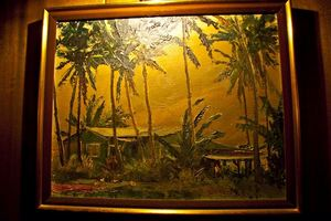 Painting in the hallway past reception at Trader Vic's in Tokyo