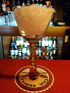 Drink in a stemmed tiki glass at Trader Vic's in Tokyo