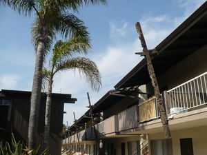 Tiki beams at Eli Kai Apartments in Torrance