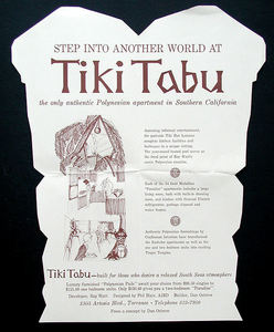 Inside a promotional brochure for Tiki Aloha Apartments (originally Tiki Tabu) in Torrance