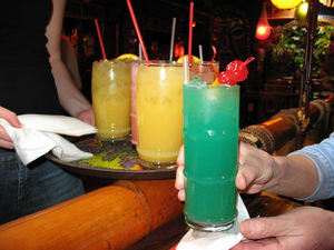 Colorful cocktails including a Blue Hawaiian at Kon Tiki Lounge in Tucson