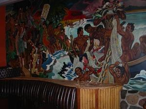 Part of a wall mural at The Polynesian Room in Vancouver