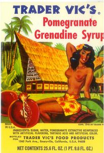 Syrup bottle label with a rendering of Trader Vic's in Waikiki