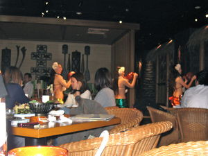 Hula dancers at Tiki Tiki Yokohama in Yokoh