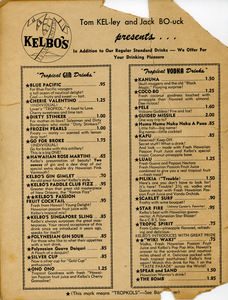 Drink menu from Kelbo's in Los Angeles