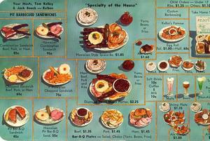 Souvenir menu postcard from Kelbo's