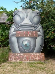 Sign at Tiki Village Theater in Moorea