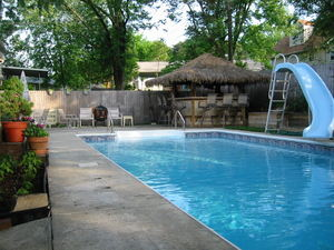 Across the pool looking at Tatas' Tiki Bar in Glen Burnie