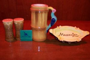 Salt and pepper shakers, matchbook, mug and ashtray from Mauna Loa in Detroit