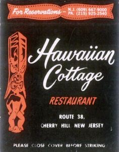 Matchbook from Hawaiian Cottage in Cherry Hill