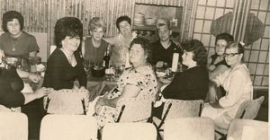 Vintage photo of the submitter's grandmother and friends at Hawaiian Cottage in Cherry Hill