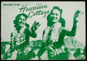 Front cover of a menu from Hawaiian Cottage