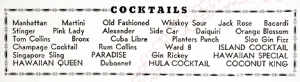 List of cocktails from the interior of a Hawaiian Cottage menu