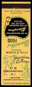 Matchbook cover from Hawaiian Cottage
