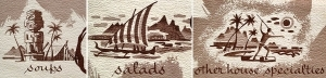 Detail of illustrations from a Kalua Room menu