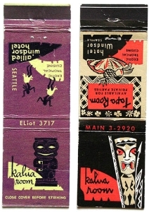 Matchbook covers from the Kalua Room