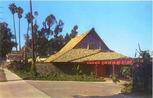 Postcard showing the exterior of The Polynesian in Torrance