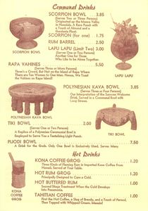 Drink bowls in a drink menu from The Polynesian in Torrance