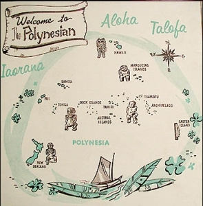 Detail of illustration from a menu from the Polynesian