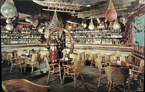 Postcard showing the bar at Skipper Kent's