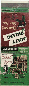 Matchbook cover from the Waikiki Room at the Hotel Nicollet