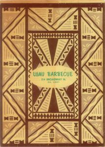 Menu from Luau Barbecue Restaurant in Seattle
