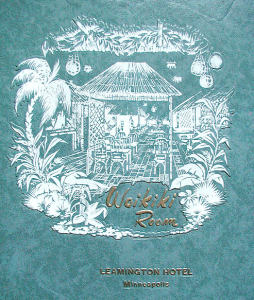 Menu cover from the Waikiki Room at the Hotel Leamington