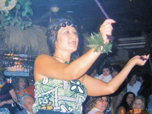 Tiare dancing with poi balls at Kona Kai Bamboo Grill in Philadelphia