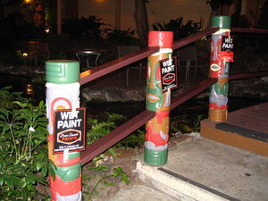 New coat of paint for the rail totems at Red Lion Hanalei Hotel in San Diego