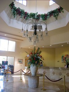 The lobby at the Hanalei Hotel in San Diego