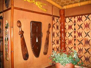 Masks and weapons at The Islands Restaurant in San Diego