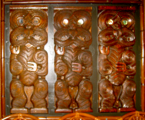 Carved panel at the Islands Restaurant in San Diego