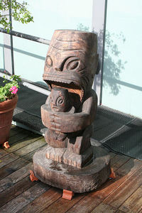 Cannibal tiki at Harbor Hut in Morro Bay