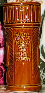 Back of a tiki mug from Hula's Island Grill & Tiki Room in Monterey