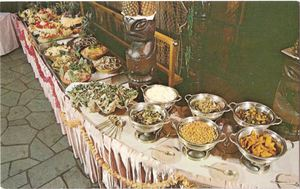 Postcard showing the buffet at Kon-Tiki in Cleveland