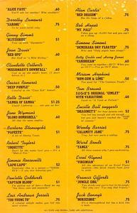 Drink menu from the Tropics in Beverly Hills
