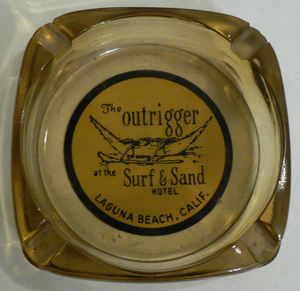 Ashtray from Billingsley's Outrigger in Laguna Beach