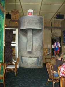 Moai guarding the entrance at Rock-a-Tiki in Chicago