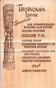 Inside of a matchbook from Tropicana Lodge in Fresno