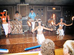 Polynesian dancers performing in the ballroom of the Marriott for a private party, at Kona Kai in Philadelphia