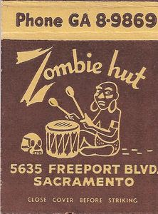 Matchbook from Zombie Hut in Sacramento