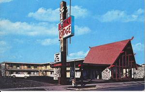 Early postcard from Tiki Lodge Motel in Medford