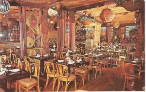 Detail of larger postcard, showing the dining room at Don the Beachcomber in Chicago