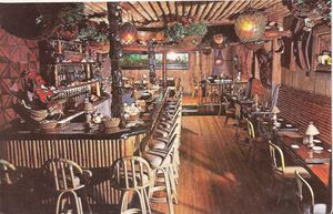 Detail of larger postcard, showing the bar at Don the Beachcomber in Chicago