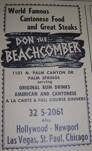 Phone book ad for Don the Beachcomber, from the Palm Springs Public Library