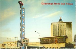 Postcard from the Sahara, showing the exterior of Don the Beachcomber in Las Vegas