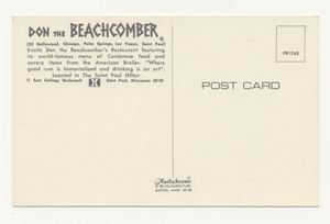 Reverse of postcard from Don the Beachcomber in St. Paul