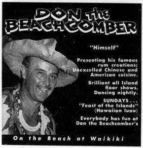 Advertisement from Paradise of the Pacific Magazine for Don the Beachcomber in Waikiki
