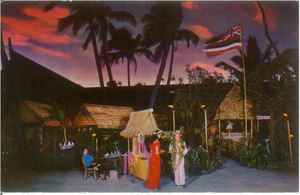 Postcard showing Donn Beach greeting visitors at Don the Beachcomber in Waikiki